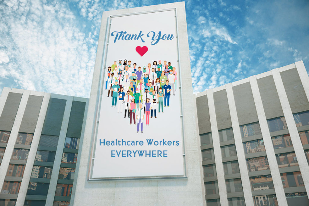 Thank you healthcare workers large format graphic on hospital